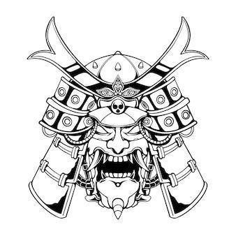 Ilustração em preto e branco do mecha samurai japão