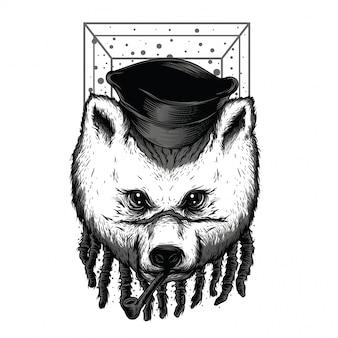 Ilustração em preto e branco do urso rasta