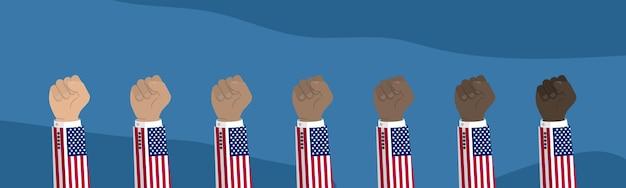 Ilustração em punho da bandeira americana levantada