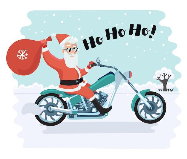 Ilustração em quadrinhos engraçada dos desenhos animados de vetor de motociclista de papai noel na paisagem de inverno. ele está andando de moto, segurando a sacola de férias e triste ho-ho-ho +