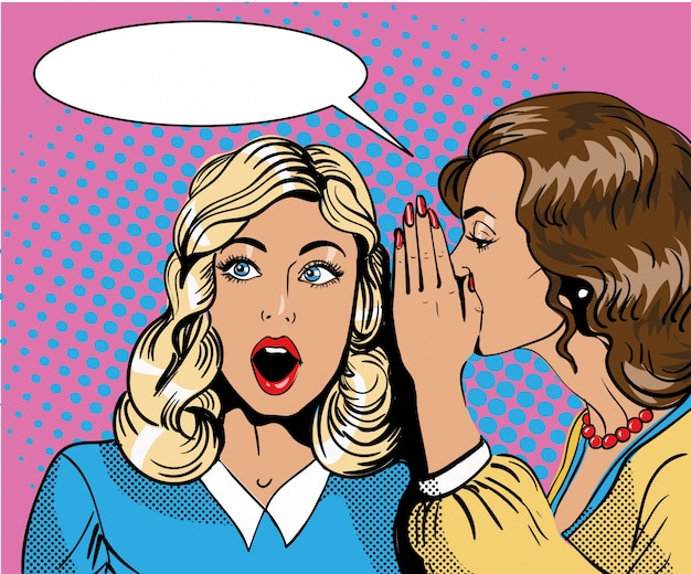 Ilustração em quadrinhos retrô pop art. mulher sussurrando fofoca ou segredo para sua amiga. balão de fala.