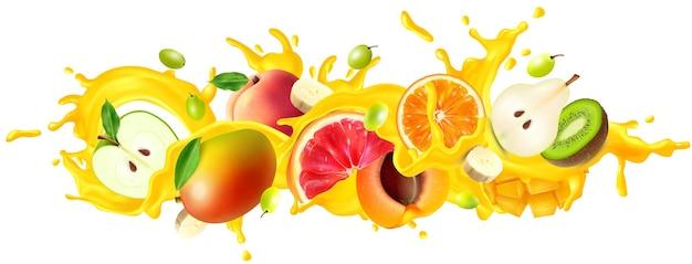 Ilustração em spray de suco e frutas