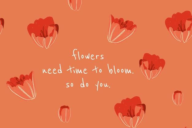 Ilustração em tulipa do modelo de banner floral lindo com citações inspiradoras