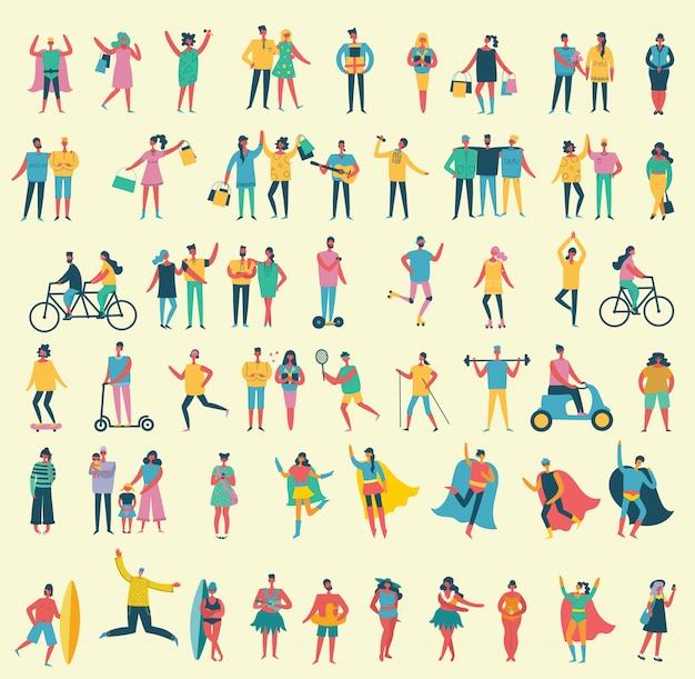 Ilustração em um estilo simples de diferentes atividades pessoas pulando, dançando, caminhando, casal apaixonado, fazendo esporte. Vetor Premium