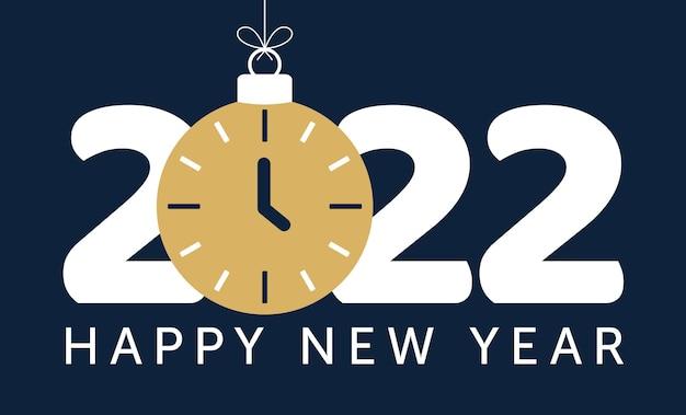 Ilustração em vetor 2022 feliz ano novo. ano novo de 2022 com bola de bugiganga de relógio azul em ilustração de fundo preto em estilo plano e cartoon