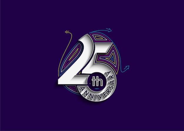 Ilustração em vetor 25º aniversário de aniversário