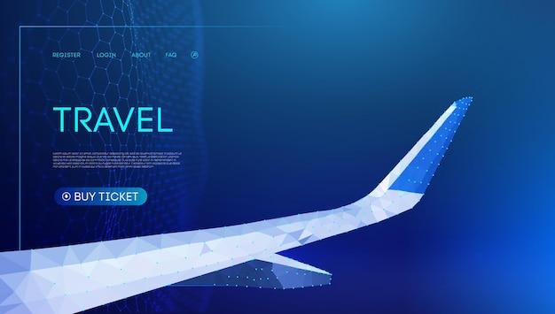 Ilustração em vetor 3d baixo poli avião. polígono baixo. fundo do céu noturno, ilustração vetorial de tecnologia. arte de linha do vetor de viagens. eps 10