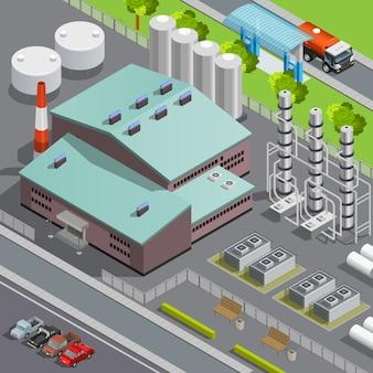 Ilustração em vetor 3d colorida isométrica refinaria e transporte composição