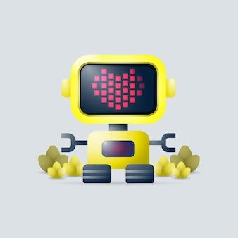 Ilustração em vetor 3d de um robô voador com o símbolo em forma de coração na tela