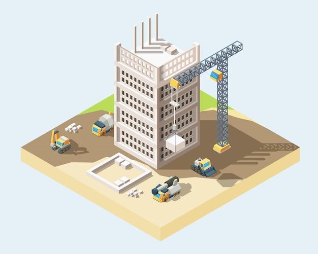 Ilustração em vetor 3d isométrica moderna processo de construção de casa