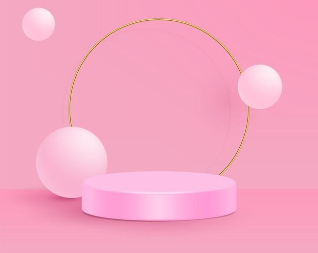Ilustração em vetor 3d stand cena mínima de parede rosa.