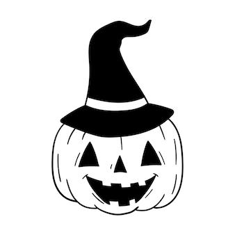 Ilustração em vetor abóbora bruxa chapéu feliz dia das bruxas