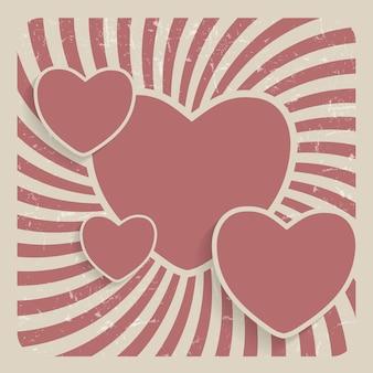Ilustração em vetor abstrato coração retro grunge