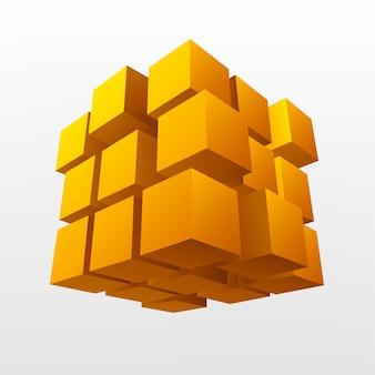 Ilustração em vetor abstrato cubo de ouro