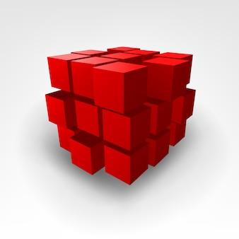 Ilustração em vetor abstrato cubo vermelho