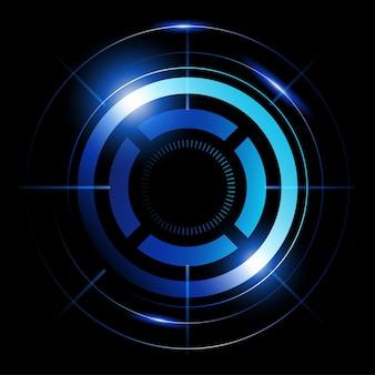 Ilustração em vetor abstrato de círculos azuis, radar, processamento, símbolo de alvo