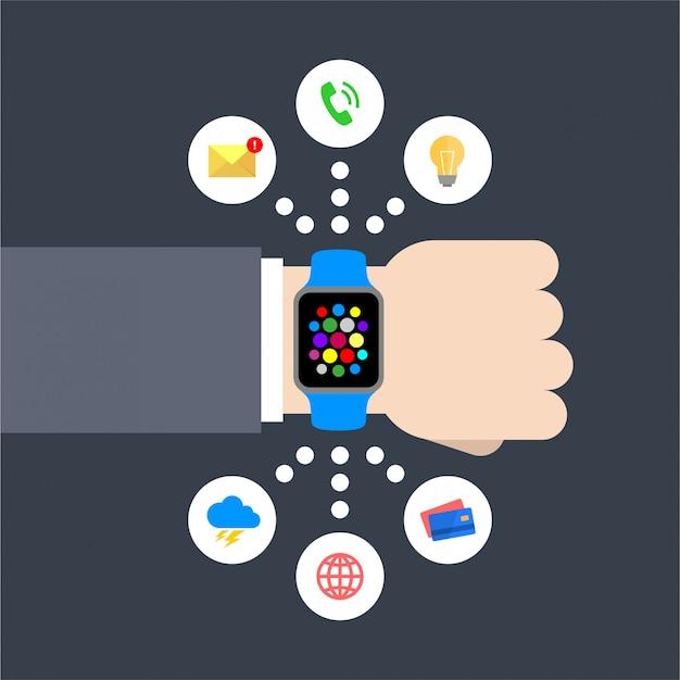 Ilustração em vetor abstrato design plano de uma mão de empresário com um relógio inteligente com ícones de gráfico infográfico: mensagem, lâmpada, telefonema, clima, global, cartão de crédito