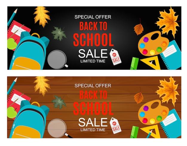 Ilustração em vetor abstrato fundo de venda de volta às aulas com queda de folhas de outono