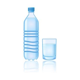 Ilustração em vetor abstrato garrafa e vidro de água mineral pura