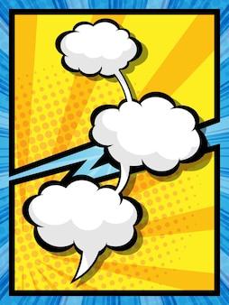 Ilustração em vetor abstrato quadrinhos pop art discurso bolha desenho animado fundo Vetor Premium