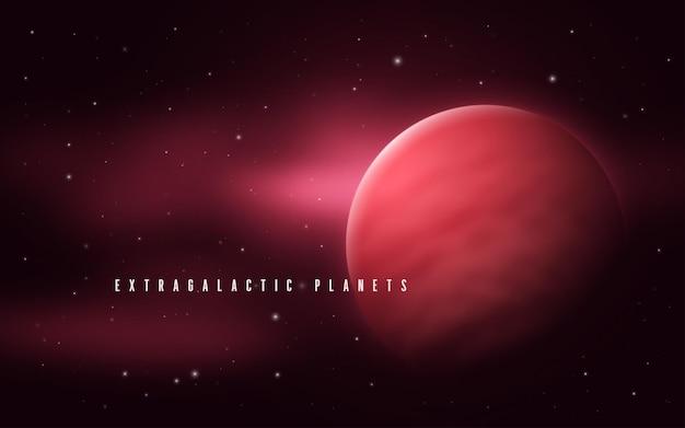 Ilustração em vetor abstrato sci-fi do espaço profundo com gigante gasoso e nebulosa.