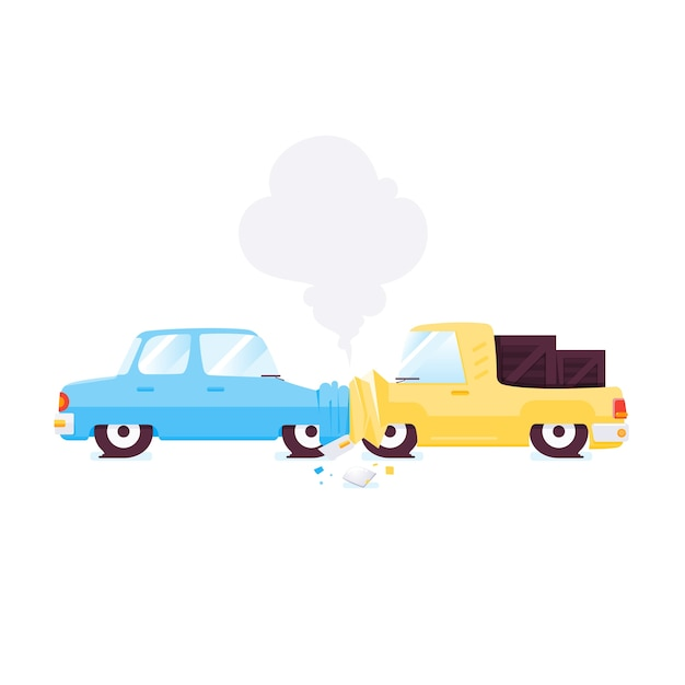 Ilustração em vetor acidente de carro liso.