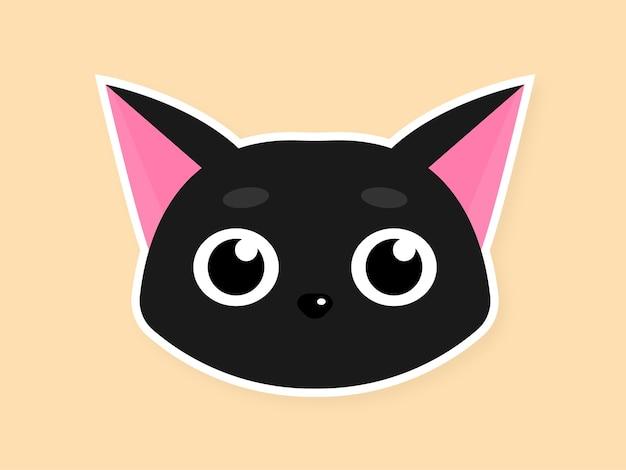 Ilustração em vetor adesivo bonito com cara de gato preto e olhos grandes