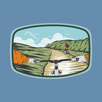 Ilustração em vetor adesivo de mountain bike em viagem