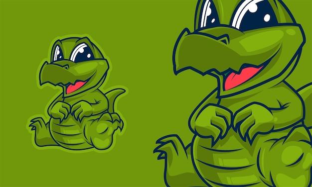 Ilustração em vetor adorável mascote dos desenhos animados de crocodilo pequeno