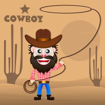Ilustração em vetor alegre vaqueiro.