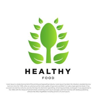 Ilustração em vetor alimentação saudável logotipo gradiente e pétalas