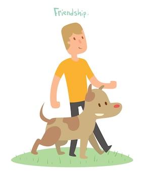 Ilustração em vetor amigos menino e cachorro