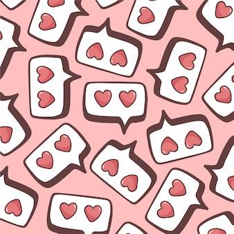 Ilustração em vetor amor discurso bolha padrão de fundo