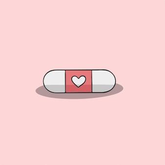 Ilustração em vetor amor pílulas símbolo dos namorados