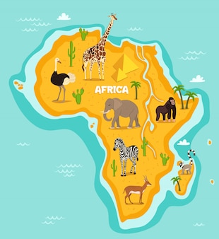 Ilustração em vetor animais selvagens animais africanos Vetor Premium