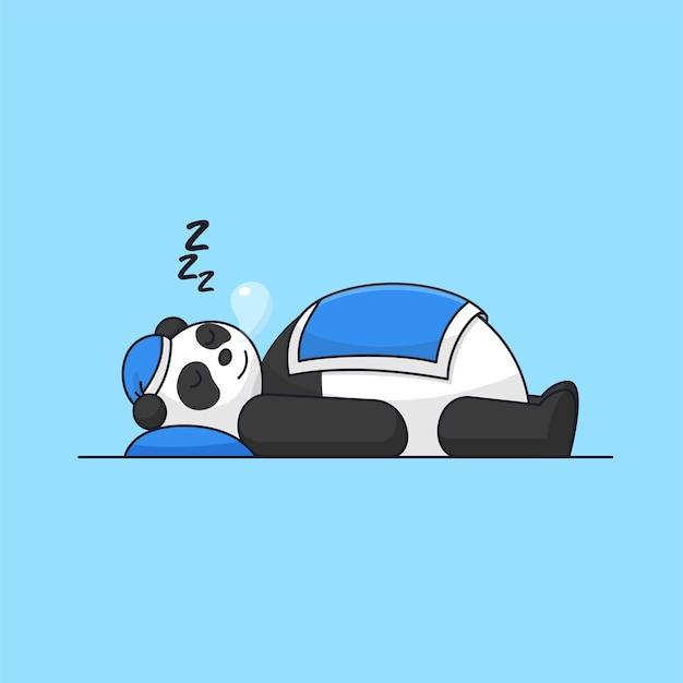 Ilustração em vetor animal adorável panda adormecido com cobertor e chapéu
