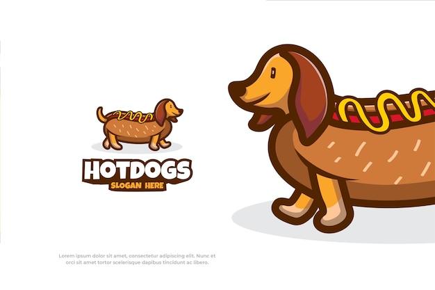 Ilustração em vetor animal mascote de cachorro-quente com logotipo fofo