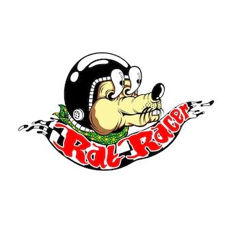 Ilustração em vetor animal racer rato