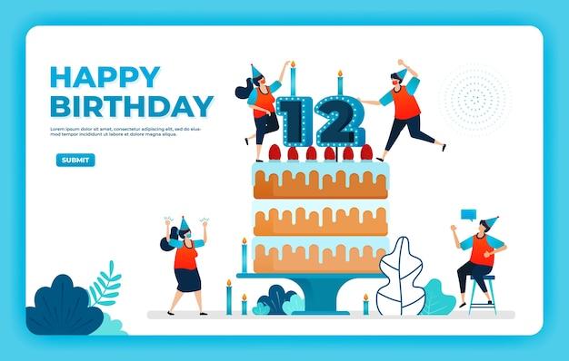 Ilustração em vetor aniversário com protocolo de saúde.