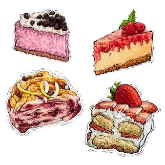 Ilustração em vetor aquarela bolo sobremesa