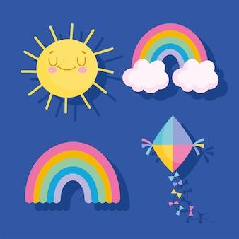 Ilustração em vetor arco-íris, pipa e ícones de sol