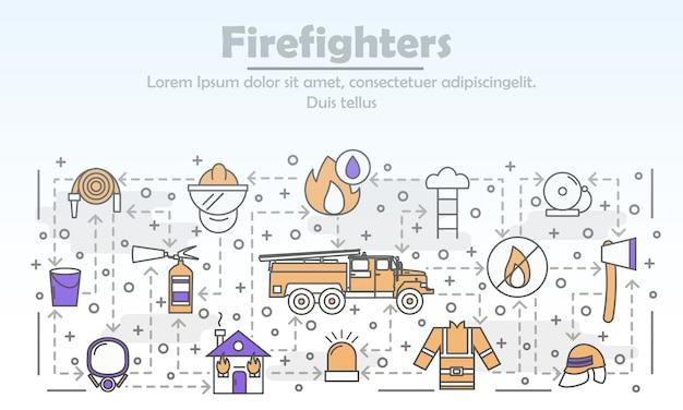 Ilustração em vetor arte fina linha bombeiros