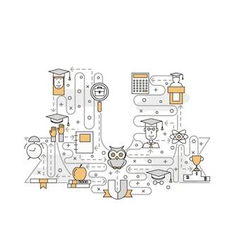 Ilustração em vetor arte linha fina universidade