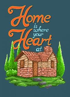 Ilustração em vetor arte pixel de uma casa na aldeia com citações motivacionais e estilo de videogame gráfico pixel art dos anos 90.