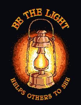 Ilustração em vetor arte pixel de uma lanterna com citação positiva motivacional.
