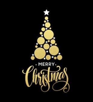 Ilustração em vetor árvore de natal dourada feita com estrela e círculo cintilante. letras de feliz natal eps10