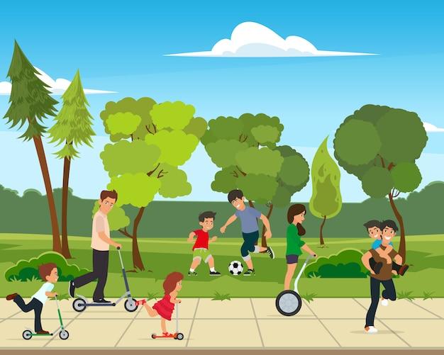 Ilustração em vetor atividades parque.