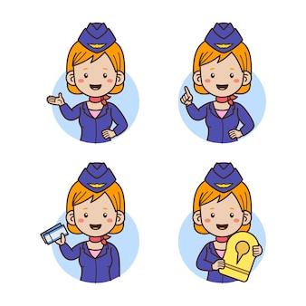 Ilustração em vetor avatar com comissário de bordo isolada