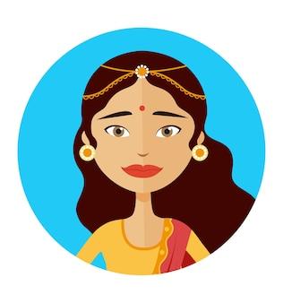 Ilustração em vetor avatar mulher indiana isolada