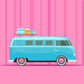 Ilustração em vetor azul van campista férias